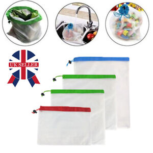 12X Reusable Eco Bag Mesh Net Drawstring Bags Food Vegetable Fruit Storage UK