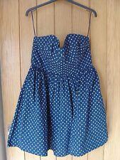 Jack Wills Charlton Navy Anchor Strapless Dress Size 14 NEW RRP £79.50 (Ref Z)