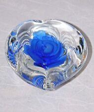 ~ Art Glass Heart Paperweight Vintage Blue Rose Wonderful! ~