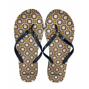 Tory Burch Flip Flops Sandals Sz 9 Womens Tory Navy Blue Orange Octagon Square