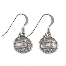 Sterling Silver Parthenon Round Greek Earrings (12mm) w/ French Hooks