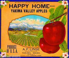 Yakima Washington State Happy Home Apple Fruit Crate Label Art Print