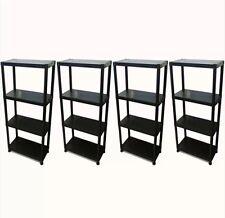 4 Tier Black Plastic Racking Shelving Shelves Rack Storage Shelf Unit
