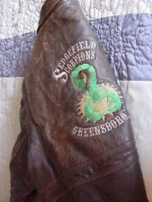 VINTAGE SLEDGEFIELD SCORPIONS N. C..CLUB MOTORCYCLE BROWN LEATHER JACKET SIZE 46