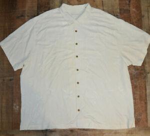 Mens TOMMY BAHAMA Ivory Cream 100% Silk Camp Hawaiian Shirt Floral Big Tall 4XB