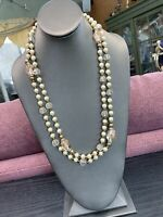 Vintage 1950's white Lucite Glass imitation pearl beaded long necklace  54""