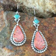 Vintage Boho Tibetan 925 Silver Turquoise Dangle Hook Earrings Jewelry Women