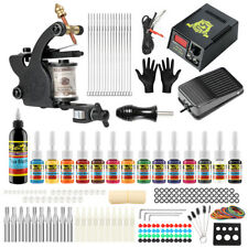 Complete Tattoo Kit 1 machine Gun 14 Color Inks Power Supply TK102
