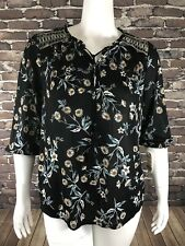 New Style & Co Peasant Floral Print Tie neck Sz 2X 3/4 Sleeves Stretch NWT