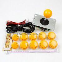 Arcade DIY Kit Parts USB Encoder + 1 Joystick + 10 Push Buttons For MAME Yellow