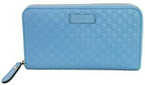 Gucci GG Micro Guccissima Purse Zip Around Wallet Blue Light Large Leather