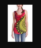 DESIGUAL #41T2524 Cowl Neck Sleeveless Jersey Top Blouse Shirt size Medium