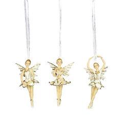 3 x Gisela Graham Cream & Gold Hanging Fairy Ballerina Christmas Tree Decoration