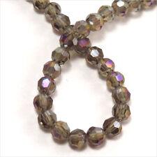 Lot de 50 perles à FACETTES 4mm en Cristal de Bohème Black Diamond Irisé