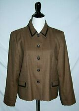 Pendleton Blazer Women's 16 Tan Brown Red Houndstooth Wool Lined Leather Trim