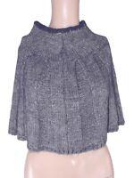poncho maglione donna grigio made italy lana angora taglia unica one size