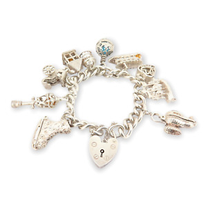 .Vintage Sterling Silver English Curb Bracelet with Stunning Charms 20cm 93.8g