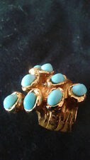 YVES SAINT LAURENT YSL ARTY DOTS RING GOLDTONE LOGO TURQUISE SIZE 5 NWOB