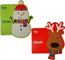 Snowman & Reindeer 'Peel-n-Stick' Christmas Holiday Gift Tags - 12 Tags