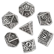 Polyhedral 7 Die Set of Metal Dice 7: Steampunk Black Design  Solid Import