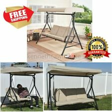 Outdoor Porch Swing Chair Adjustable Canopy 3 Person Steel Tufted Cushions Beige