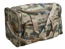 """HORSE DESIGN HEAVY TAPESTRY FABRIC 18"""" DUFFEL BAG  HORSE LOVERS LUGGAGE DUFFLE"""