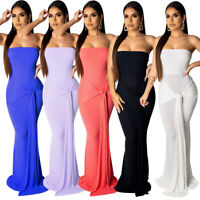 Women Boat Neck Sleeveless Solid Color Bandage Bodycon Cocktail Party Maxi Dress