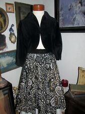 1950s Swing,Circle Skirt Stunning Abstract Printed Taffeta Black Velvet Bolero