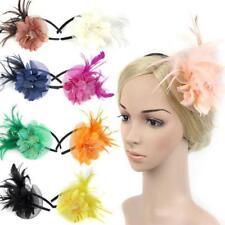 Lady Feather Fascinator Flower Veil Hat Hairband Wedding Party Decor