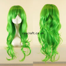 Long wavy curly cosplay wig with fringe in lime green, UK seller, Charlie style