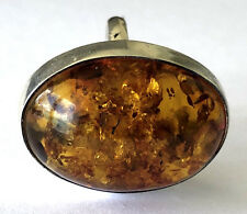 Gorgeous Large Natural Amber Sterling Silver 925 Ladies Ring Sz 7.75