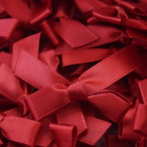 100 Pcs Mini Satin Ribbon Flowers Bows Gift Craft Wedding Decoration pick DIY