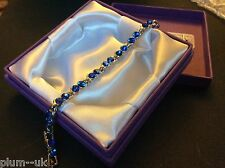 "GB Cobalt blue round zircon 7-8"" silver bracelet (white gold gf) Plum UK BOXED"