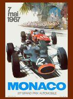1967 Monaco 25th Grand Prix Automobile Race Car Advertisement Vintage Poster