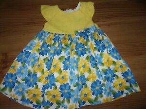 MAYORAL - Girl's Yellow Dress With a Blue/Yellow Flowers  Design. Age 12 Months