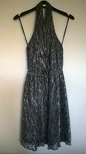 MISS SELFRIDGE  SILVER MINI DRESS, WRAP FRONT HALTER NECK, PARTY NEW UK SIZE 6