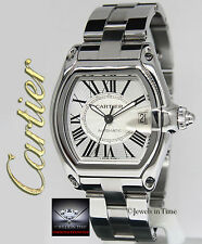 Cartier Roadster Stainless Steel Silver Dial Mens Watch Box/Papers 2510