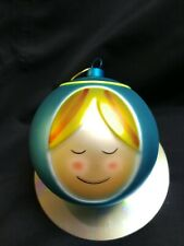 Alessi Bulgari M.Jori Designed Hand painting blown glass ornament Blue girl