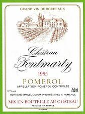 Etiquette de vin-Bordeaux(1985)-Pomerol-Château Fontmarty-M.Moueix-N°462
