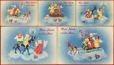 5 cartoline Buon Natale anni 50 mai usate