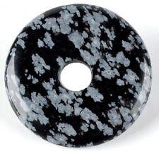 Schneeflocken Obsidian Donut 40 mm im Geschenkset mit Lederband Edelstein