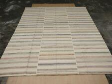 Cream Area Rug Hand Woven Carpet Rug 100% Wool Striped Floor Rug Handmade