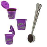 3-Pack Reusable K cup Keurig 2.0 & 1.0 Coffee Filter Pod Coffee Scoop Clip Combo