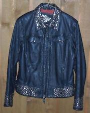 Women's Harley Davidson Metal Bling Studs Black Leather Jacket Coat, MEDIUM, M