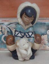 """Lladro #2232 """"Poor Little Bear"""" Eskimo/Inuit w polar bear cub GRES - MWOB,RV$235"""