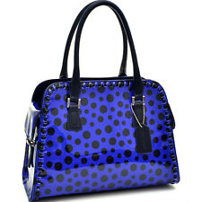 New Womens Handbags Glossy Leather Satchels Polka Dot Purse Tote Shoulder Bags