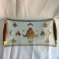 """rare Georges Briard glass mcm tray w/ wood and brass handles gold 12""""x6"""" midmod"""