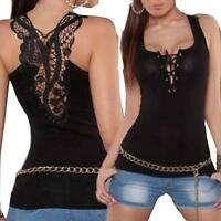 Womens Bandage Tank Top Vest Sexy Lace Halter Tops Fashion Sleeveless Camisole