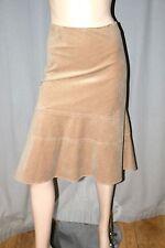 M&S dark beige nude cotton A-line skirt velvety/faux suede feel 22uk