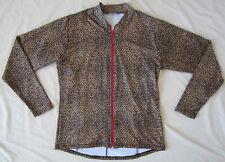 Women's bike cycling Jersey Jacket Brown Black Leopard Print New Small